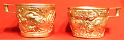 Reproduction of the gold cups from Vapheio. Mycenaean Late Helladic I ca. 1600-1450 B.C. Made by E. Gilliéron, père