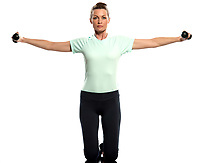 woman exercising weights training Worrkout Posture on white background with weights