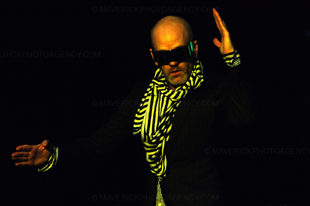 BALADO, KINROSS, SCOTLAND - JULY 13th 2008: REM perform live at T in the Park 2008.  Pictured singer Michael Stipe.
