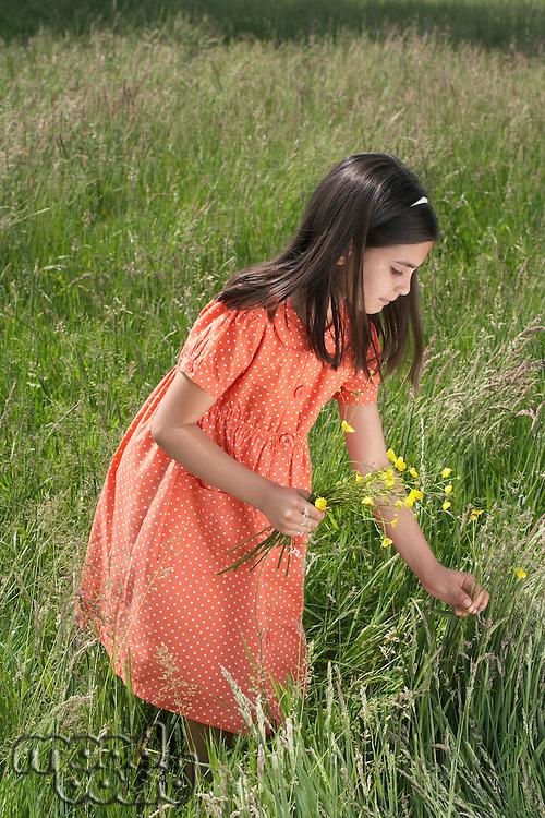 Girl (7-9) picking flowers in field