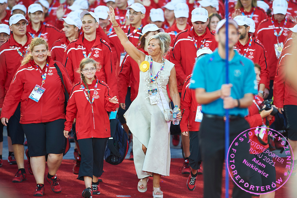 Katarzyna Frank Niemczycka with Polish Team Special Olympics during opening ceremony of the Special Olympics World Games Los Angeles 2015 at the Los Angeles Coliseum Stadium on July 25, 2015 in Los Angeles, USA.<br /> USA, Los Angeles, July 25, 2015<br /> <br /> Picture also available in RAW (NEF) or TIFF format on special request.<br /> <br /> For editorial use only. Any commercial or promotional use requires permission.<br /> <br /> Adam Nurkiewicz declares that he has no rights to the image of people at the photographs of his authorship.<br /> <br /> Mandatory credit:<br /> Photo by &copy; Adam Nurkiewicz / Mediasport