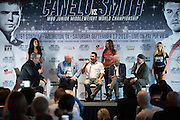"""Oscar De La Hoya speaks during the """"Born Bold Champions Chat"""" with Jerry Jones, Larry Merchant and Jerry Jones at AT&T Stadium in Arlington, Texas on September 16, 2016.  (Cooper Neill for ESPN)"""