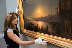 © licensed to London News Pictures. London, UK 23/11/2012. An exceptional 1886 panorama of Constantinople (Istanbul) by Ivan Aivazovsky 'Moonrise over the Golden Horn' estimated to be sold for £700,000-900,000 by Sotheby's on 26 November 2012 in London. Photo credit: Tolga Akmen/LNP