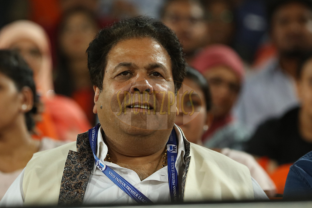 Rajeev Shukla , IPL Chairman  during match twenty five of the Vivo Indian Premier League 2018 (IPL 2018) between the Sunrisers Hyderabad and the Kings XI Punjab  held at the Rajiv Gandhi International Cricket Stadium in Hyderabad on the 26th April 2018.<br /> <br /> Photo by Saikat Das /SPORTZPICS for BCCI