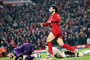 Liverpool forward Mohamed Salah (11) scores the winning goal 2-0  during the Premier League match between Liverpool and Manchester United at Anfield, Liverpool, England on 19 January 2020.