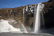 Rainbow & Long Exposure at Seljalandfoss in Southern Iceland