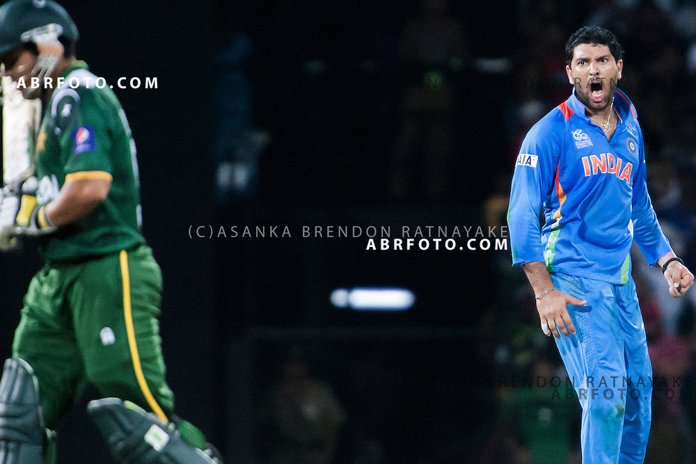 Yuvraj Singh shouts at a Pakistani batsmen after he gets him out during the ICC world Twenty20 Cricket held in Sri Lanka.