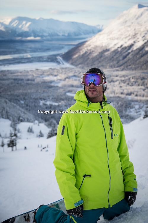 Chad Aurentz snowboarding at Alyeska Resort in Girdwood, Alaska.