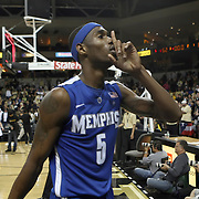 Memphis guard Will Barton (5) hushes the crowd after defeating the  Central Florida Knights at the UCF Arena on February 9, 2011 in Orlando, Florida. Memphis won the game 63-62. (AP Photo: Alex Menendez)