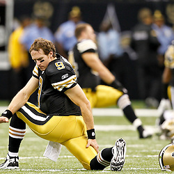 September 25, 2011; New Orleans, LA, USA; New Orleans Saints quarterback Drew Brees (9) prior to kickoff of a game against the Houston Texans at the Louisiana Superdome. Mandatory Credit: Derick E. Hingle