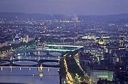 France. Lyon . Aerial view of the illuminations of the bridges of the Rhone in the evening. In the distance the industrial valley.       illuminations sur les ponts du Rhône  le soir vue aerienne  , dans le lointain la vallee industrielle      R00063 1    L931103a     P0000248