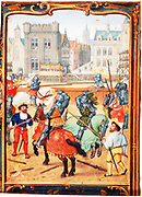 June: A tournament. Early 16th century Flemish manuscript calendar.