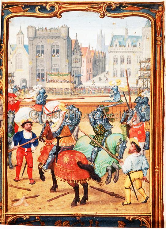 June: A tournament. Early 16th century Flemish manuscript calendar.