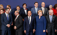 (L-R 1st row) Latvian Prime Minister Valdis Dombrovskis, Greek Prime Minister Antonis Samaras, French President Francois Hollande, Lithuanian President Dalia Grybauskaite, European Council President Herman Van Rompuy, (2nd row) Hungarian Prime Minister Viktor Orban, Belgian Prime Minister Elio Di Rupo, Spanish Prime Minister Mariano Rajoy, Swedish Prime Minister Fredrik Reinfeldt pose for a family photo during an European Union summit in Brussels, Belgium, 24 October 2013.