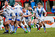 Workington Town hooker Sean Penkywicz (24) passes from the base of the scrum during the Betfred League 1 match between Keighley Cougars and Workington Town at Cougar Park, Keighley, United Kingdom on 18 February 2018. Picture by Simon Davies.