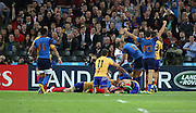 Remi Tales (France) celebrating Sofiane Guitoune (France) scoring another French try to take the score F22 R6 during the Rugby World Cup Pool D match between France and Romania at the Queen Elizabeth II Olympic Park, London, United Kingdom on 23 September 2015. Photo by Matthew Redman.