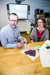 Pictured: Iain Gulland, CEO Zeron  Waste Scotland dropped by for a lesson from Helen Stephenson, leather repair and window displays<br /> <br /> The Remakery - which is part of a Zero Waste Scotland project - aims to transform the scale of re-use shopping experiences and teach people key repair skills.<br /> <br /> Ger Harley | EEm 19 May  2016