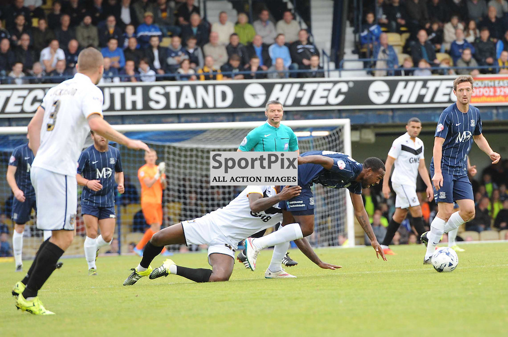 Southends Myles Weston is fouled by Port Vales Anthony Grant during the Southend v Port Vale game in Sky Bet League 1 on the 10th October 2015