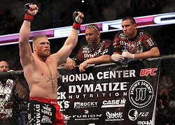 October 23, 2010; Anaheim, CA; USA; Brock Lesnar  before his UFC Heavyweight Championship bout at UFC 121 at the Honda Center in Anaheim, CA.   Velasquez won via 1st round TKO.