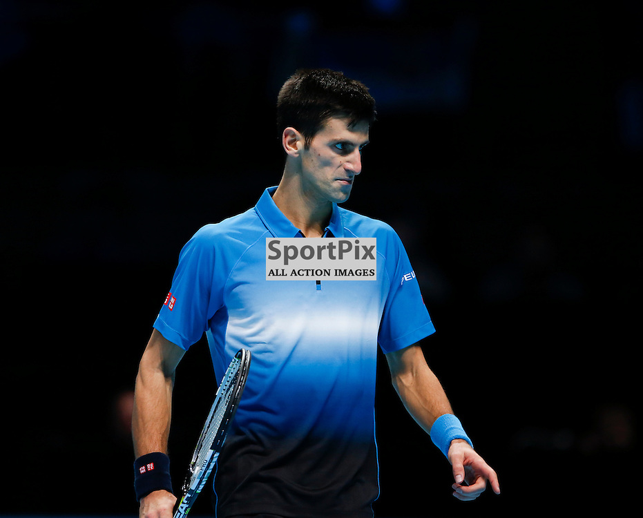 Novak Djokovic is annoyed by the loss of a point during the ATP World Tour Final match between Novak Djokovic and Roger Federer at the O2 Arena, London 2015.  on November 22, 2015 in London, England. (Credit: SAM TODD | SportPix.org.uk)