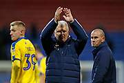 Glynn Hodges First Team Manager of Wimbledon applauds the fans at full time during the EFL Sky Bet League 1 match between Bolton Wanderers and AFC Wimbledon at the University of  Bolton Stadium, Bolton, England on 7 December 2019.
