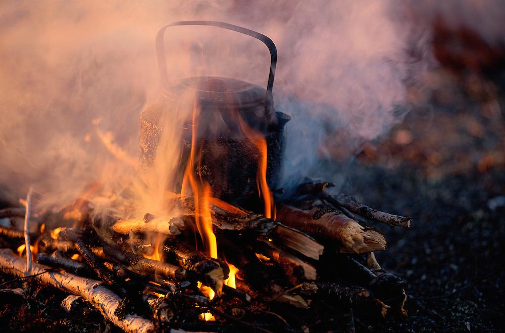 Boiling tea on campfire, Chukotka, Siberia, Russia