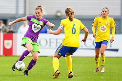 Lucy Graham of Bristol City is challenged by Kerys Harrop of Birmingham City Women - Mandatory by-line: Ryan Hiscott/JMP - 14/10/2018 - FOOTBALL - Stoke Gifford Stadium - Bristol, England - Bristol City Women v Birmingham City Women - FA Women's Super League 1