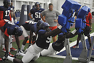 Ole Miss defensive end Fadol Brown goes through a drill during football practice at the Manning Center, in Oxford, Miss. on Monday, August 18, 2014.