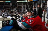 KELOWNA, BC - NOVEMBER 1: Kobe Mohr #25 of the Kelowna Rockets sits on the bench chirping the Prince George Cougars at Prospera Place on November 1, 2019 in Kelowna, Canada. (Photo by Marissa Baecker/Shoot the Breeze)