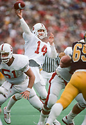 COLLEGE FOOTBALL:  Stanford v Cal in the 87th Big Game played on November 17, 1984 at Memorial Stadium in Berkeley, California.  John Paye #14.  Photograph by David Madison (www.davidmadison.com).