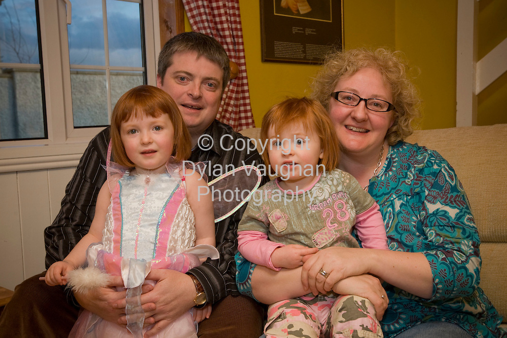 4/3/2008.The Brady family in Threecastles in Kilkenny..From left Fergal, Ailbhe aged 3,Ríonach aged 2 and Lesley.Picture Dylan Vaughan.