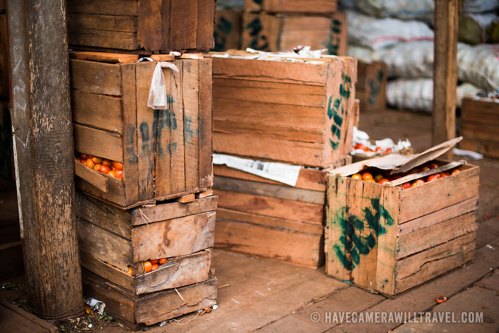 Crates of tomatoes at the fish and flower market in Mandalay, Myanmar (Burma).