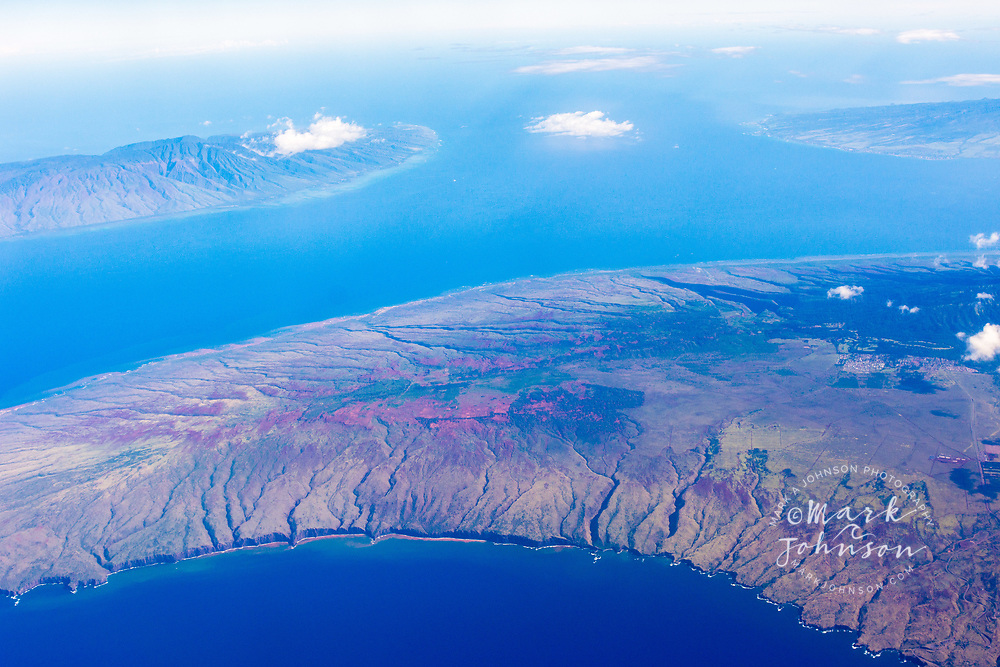 Aerial photograph of Molokai (top), Lanai (bottom), and Maui (right), Hawaii, USA