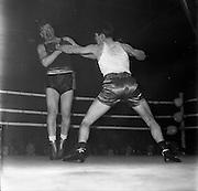 26/01/1962<br /> 01/26/1962<br /> 26 January 1962<br /> Irish Amateur National Junior Boxing Championships at the National Stadium, Dublin. D. Murray, (right), Matt Talbot B.C., Cork, lands a straight left to the body of B. O'Neill, Phoenix B.C., Dublin, during the final of the Heavyweight Irish Amateur Junior Boxing Championship bout.