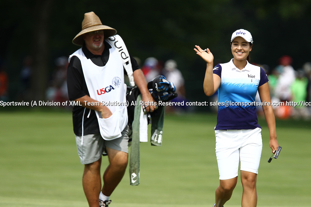 July 12, 2015: In Gee Chun acknowledges the gallery surrounding the 9th green during the final round of the 70th U.S. Women's Open at Lancaster Country Club in Lancaster, PA.