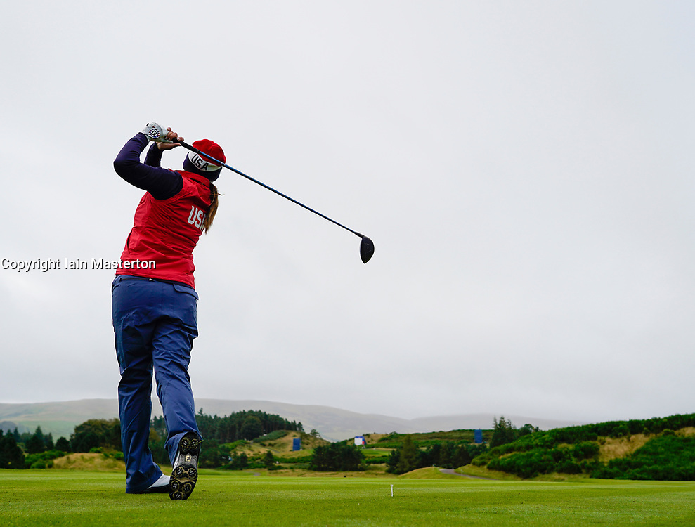 Auchterarder, Scotland, UK. 12 September 2019. Final practice day at 2019 Solheim Cup on Centenary Course at Gleneagles. Pictured; Marina Alex drives on the 2nd hole. Iain Masterton/Alamy Live News