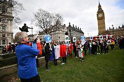 © Licensed to London News Pictures. 20/02/2017. London, UK. A protest held by foreign nationals, living in the UK, outside the Houses of Parliament in London add members of the House Of Lords debate the article 50 bill. Photo credit: Ben Cawthra/LNP