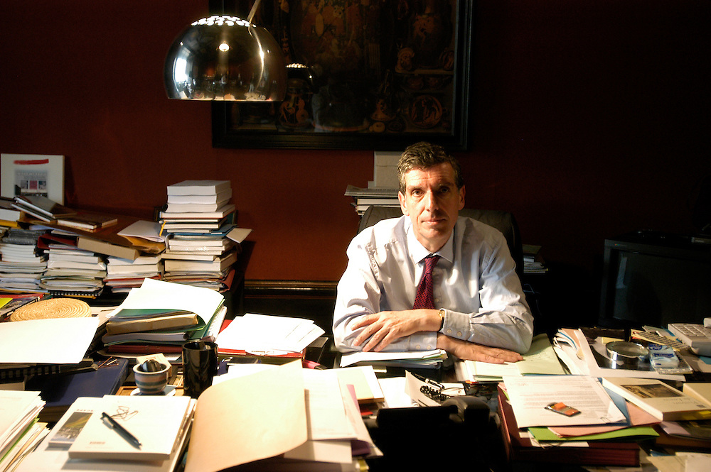 Henri Loyrette, president and general director of the Louvre Museum, in his office in the museum's Mollien Pavillion..Paris, France. 20/04/2009.Photo © J.B. Russell