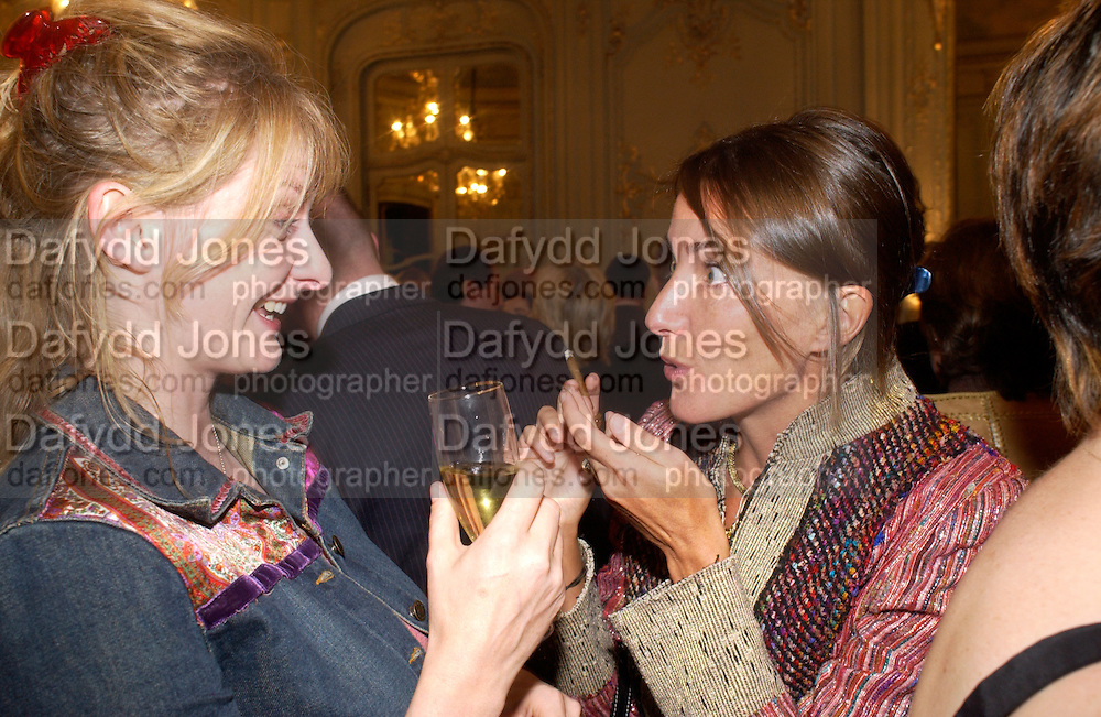 Lucy Fraser and Aoife Lambilliotte, Flora Fraser launch party for her book ' Princesses the Daughters of George 111' the Savile club, Brook St. 14 September 2004. SUPPLIED FOR ONE-TIME USE ONLY-DO NOT ARCHIVE. © Copyright Photograph by Dafydd Jones 66 Stockwell Park Rd. London SW9 0DA Tel 020 7733 0108 www.dafjones.com