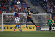 Matthew Lowton of Aston Villa and Cristhian Hernandez of the Philadelphia Union go up for a headball during a match between Aston Villa FC and Philadelphia Union at PPL Park in Chester, Pennsylvania, USA on Wednesday July 18, 2012. (photo - Mat Boyle)