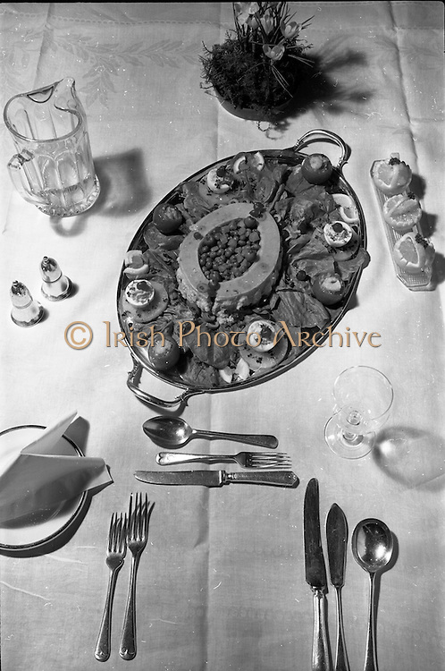03-04/03/1964<br /> 03/03-04/1964<br /> 03-04 March 1964<br /> B.I.M. Fish Cookery Competition, Munster final, winners at the Metropole Hotel, Cork. The competition was held at the School of Commerce Cork. Photo Shows: the winning dish by Phyllis Cliffe, Vocational School, Dungarvan (Knockkaun, Ballinamult).