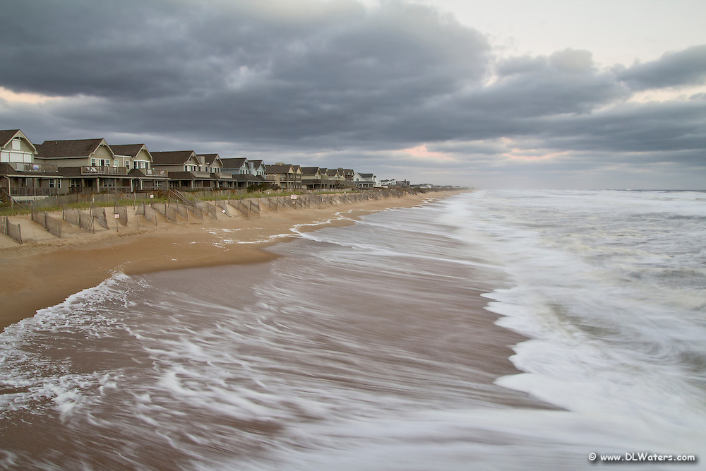 Storm clouds and surf, photograph taken from Kitty Hawk Pier.