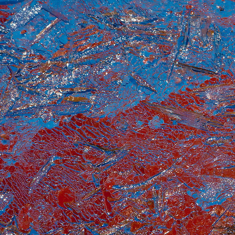 Abstract - ice with red and blue background.