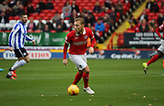 Charlton Athletic defender Chris Solly trying to start another Charlton attack during the Sky Bet Championship match between Charlton Athletic and Sheffield Wednesday at The Valley, London, England on 7 November 2015. Photo by Matthew Redman.