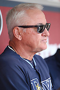 ANAHEIM, CA - MAY 17:  Manager Joe Maddon #70 of the Tampa Bay Rays talks to the media in the dugout before the game against the Los Angeles Angels of Anaheim at Angel Stadium on Saturday, May 17, 2014 in Anaheim, California. The Angels won the game in a 6-0 shutout. (Photo by Paul Spinelli/MLB Photos via Getty Images) *** Local Caption *** Joe Maddon
