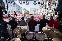 "May 1, 2019 - Munich, Bavaria, Germany - Demonstrating under the motto of ""Europa. Jetzt aber richtig!"", thousands of German workers took the streets of Munich, Germany for May Day in support of European solidarity and workers' rights.  Organized by the DGB coalition of unions, the group marched from the DGB Haus to Marienplatz where a full day of speakers and performances were planned. (Credit Image: © Sachelle Babbar/ZUMA Wire)"