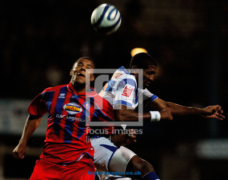 London - Tuesday, December 4th, 2007: Mikele Leigertwood  of QPR battles with Tom Soares of Crystal Palace  during the Coca Cola Championship match at Loftus Road, London. (Pic by Daniel Hambury/Focus Images)