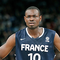 15 July 2012: Yannick Bokolo of Team France rests during a pre-Olympic exhibition game won 75-70 by Spain over France, at the Palais Omnisports de Paris Bercy, in Paris, France.