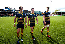 Francois Venter, Sam Lewis and Ted Hill of Worcester Warriors celebrates beating Gloucester Rugby and securing Premiership Rugby status - Mandatory by-line: Robbie Stephenson/JMP - 28/04/2019 - RUGBY - Sixways Stadium - Worcester, England - Worcester Warriors v Gloucester Rugby - Gallagher Premiership Rugby