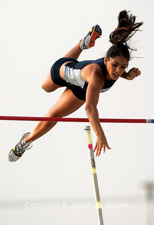 May 30, 2007- Cerritos, CA, USA-  California high schooler Allison Stokke, 18, has become a victim of unwanted attention after a photo was posted on a sports blog. Additionally, a three minute video of Stokke standing against a wall and analyzing her performance at a track meet had been posted on YouTube and viewed 150,000 times. The wave of attention has steamrolled Stokke and her family  She is recognized , and stared at , in coffee shops. She locks her doors and tries not to leave the house alone...(©) Copyright 2007 by Jonathan Alcorn